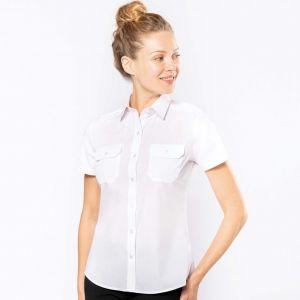 Chemise pilote manches courtes femme, 2 poches poitrine, 115 g/m²