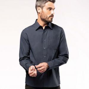 Chemise homme manches longues en popeline de coton souple, 125 g/m²