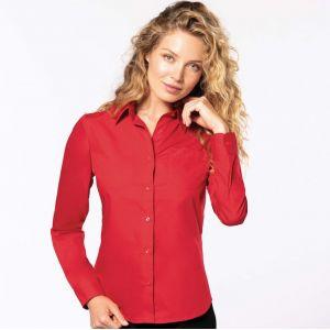 Chemise femme manches longues en popeline de coton souple, 125 g/m²