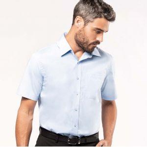 Chemise homme manches courtes en popeline de coton souple, 125 g/m²