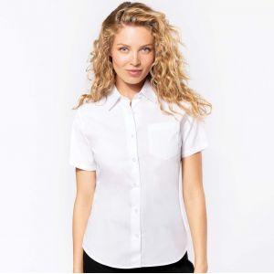 Chemise femme manches courtes en popeline de coton souple, 125 g/m²