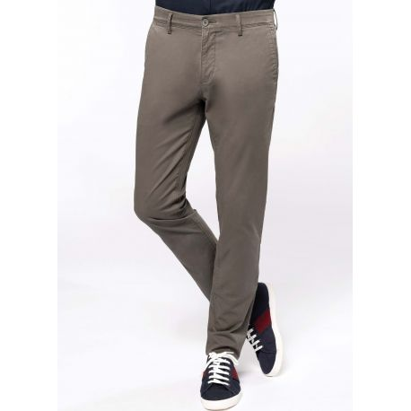 Pantalon chino premium homme en coton sergé, 260 g/m²