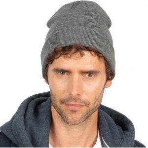 Bonnet tricoté avec revers, forme boule