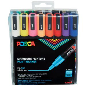 Pochette 16 feutres couleurs POSCA pointe fine 0.9-1.3 mm conique