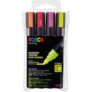 Set de 4 feutres couleurs fluo POSCA pointe médium 1.8-2.5 mm conique