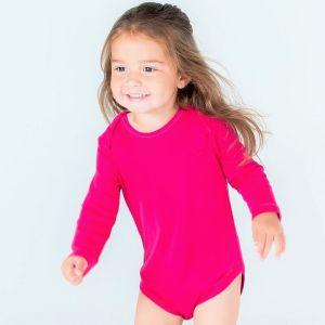 Body bébé manches longues en coton avec boutons-pression, 200 g/m²