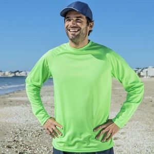 T-shirt sport respirant polyester col rond, manches longues, 140 g/m²