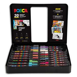 Malette en métal de 20 marqueurs POSCA Street-Art couleurs tendances, classiques et fluo
