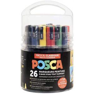 Pack XL couleurs classiques avec 26 marqueurs POSCA et 12 pointes de rechange