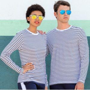 T-shirt marinière manches longues en coton doux jersey, 160 g/m²