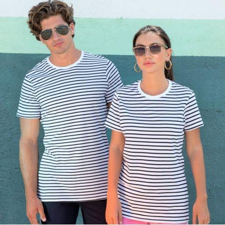 T-shirt marinière adulte en coton doux jersey, 160 g/m²