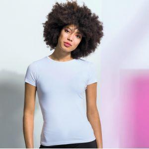 T-shirt stretch femme col rond en coton et élasthanne, 165 g/m²