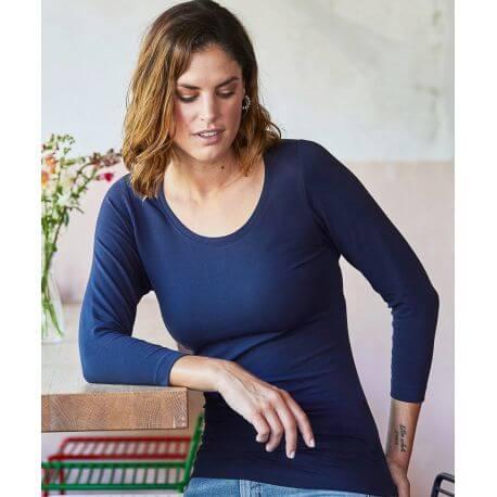 T-shirt femme manches 3/4 de qualité très doux et solide, 195 g/m²