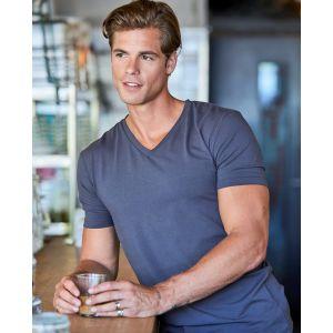 T-shirt homme épais stretch, col V en lycra, 195 g/m²