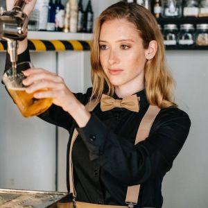 Chemise femme manches longues col italien en polycoton, 115 g/m²