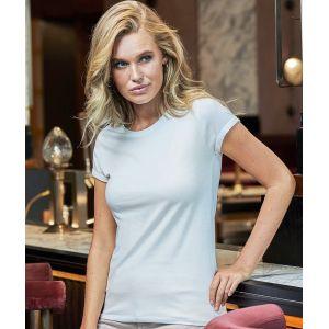 T-shirt femme décontracté manches courtes retroussées, 160 g/m²