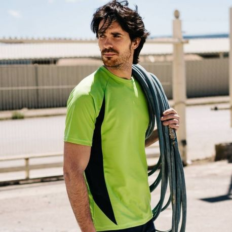 T-shirt technique bicolore respirant, 160 g/m²