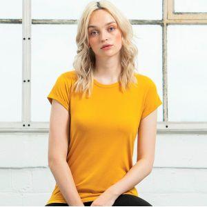 T-shirt femme à manches courtes retroussées en coton bio, 150 g/m²