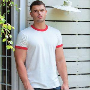 T-shirt premium bicolore en coton bio finition peau de pêche 150 g/m²