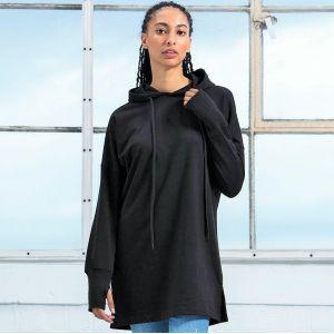 Sweat robe femme à capuche en coton bio et matières recyclées, 300 g/m²