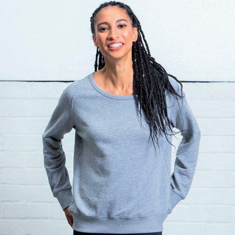 Sweat-shirt femme col large moderne, manches raglan, 280 g/m²