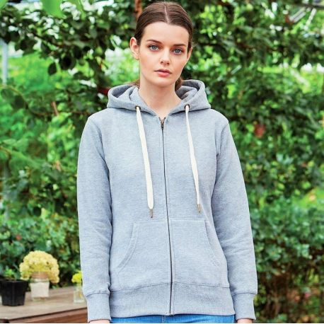 Sweat-shirt femme avec zip à capuche en polycoton, 280 g/m²