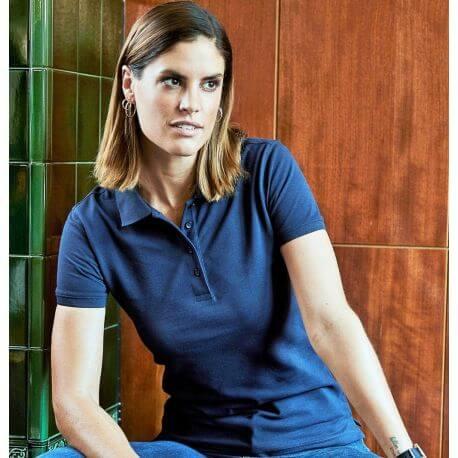 Polo femme en coton peigné ringspun, lavable à 60°C, 215 g/m²