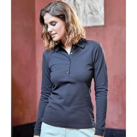 Polo stretch pour femme en coton et élasthanne, coupe cintrée
