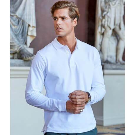 Polo stretch pour homme en coton et élasthanne, coupe ajustée