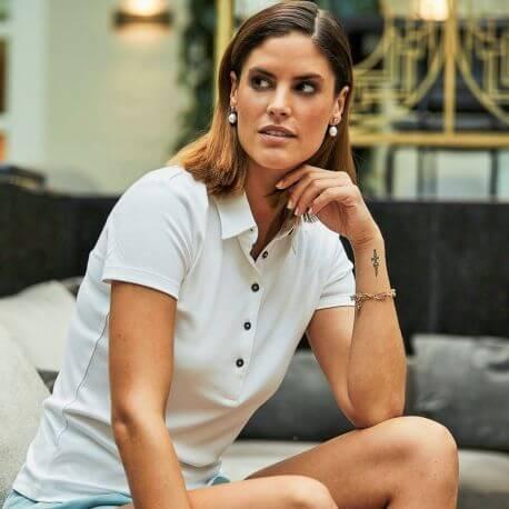 Polo femme épais en coton pima, coupe ajustée, 220 g/m²
