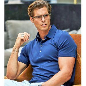 Polo homme épais en coton pima, coupe ajustée, 220 g/m²