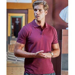 Polo homme stretch en coton ringspun, col plat en lycra, 215 g/m²
