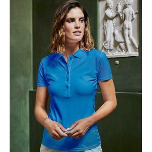 Polo femme stretch en coton ringspun, col plat en lycra, 215 g/m²