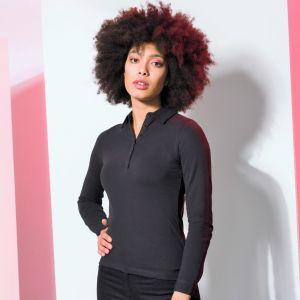 Polo micro-piqué femme stretch manches longues ajusté et moderne, 200 g/m²