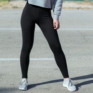 Legging noir pour femme, taille élastique, 190 g/m²
