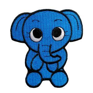 Petit patch brodé thermocollant ELEPHANTEAU BLEU