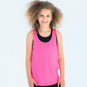 Débardeur stretch enfant cintré en polyester et élasthanne, 150 g/m²