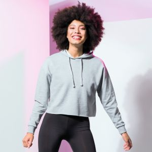 Sweat hoodie loose et court décontracté pour femme, 280 g/m²