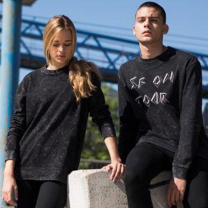 Sweatshirt délavé unisexe à col rond oversize, manches montées, 250 g/m²