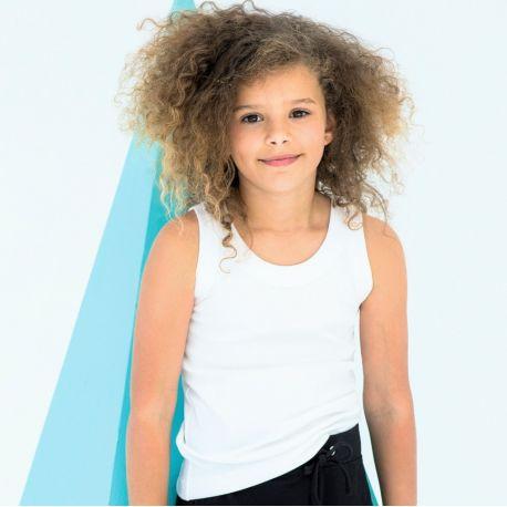 Débardeur fille en coton cintré à bretelles larges, 220 g/m²