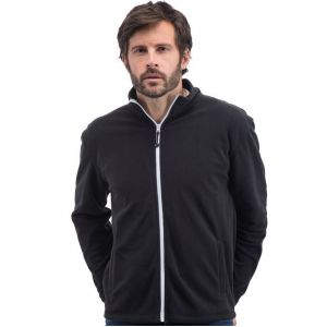 Veste polaire homme moderne, zip principal et zips poches contrastés, 300 g/m²